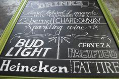 wedding drink menu #chalkboard