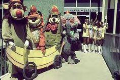 The Banana Splits at Hanna-Barbera Studio, 1968. Drooper, Bingo, Fleegle, Snorky. Plus the Sour grapes girls, I think. Loved this show!