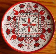 "Buy decorative saucer ""Mezen"" - a bright red dish, Mezen painting, Mezen, northern fishing Russian Folk Art, Decorative Plates, Character Design, Ornaments, Pattern, Painting, Inspiration, Eggs, Embroidery"