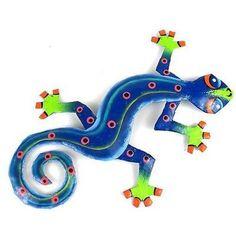 Eight Inch Blue Green Metal Gecko Handmade and Fair Trade