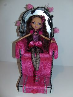 Furniture for Ever After High Dolls * Handmade Throne with Footstool * for Briar Beauty