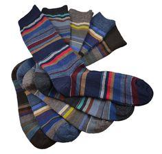 2913530beba Lanciano - Chaussettes hommes en laine merinos - larges lignes horizontales  multicolores - courtes - 5 coloris - Fabriqué en France par DORÉ DORÉ