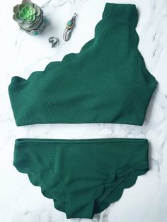$11.99 Wireless Scalloped One Shoulder Bikini - BLACKISH GREEN M
