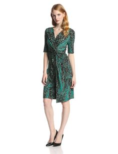 V-Neck Dress with Twist Knot by Adrianna Papell
