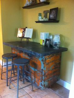 Country rustic wine bar. Need this for our future house!