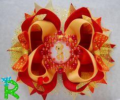 My little pony Hair Bow Applejack boutique bow by RoshelysBowtique