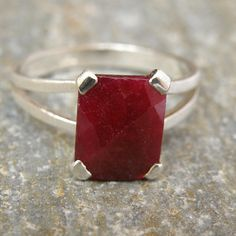 Ruby Engagement Ring Opaque Ruby Ring Sterling by EfratJewelry