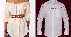 10 Maneras Para Transformar Las Camisas De Hombre En HERMOSOS Vestidos Femeninos ¿Cuál Harás Primero? - IDEAS DE FIESTAS