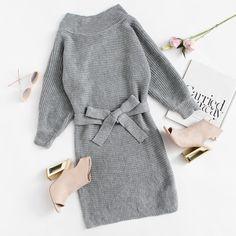 Batwing Sleeve Self Tie Knit Dress