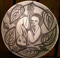 Jenny Mendes bowl, underglaze painting