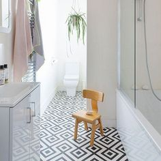 Modern monochrome bathroom with geometric vinyl floor tiles The best bathroom design ideas. Create your perfect bathroom whatever your style, budget and room size. We've got that covered, too Vinyl Flooring Bathroom, Bathroom Vinyl, Vinyl Tiles, Linoleum Flooring, Bathroom Floor Tiles, Bathroom Fixtures, Kitchen Flooring, Bathroom Interior, Downstairs Bathroom