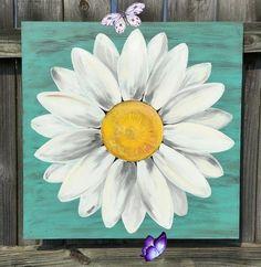 Original Daisy Painting on a Wood Panel Turquoise Blue Distressed Flower Art Original Daisy Painting on a Wood Panel Turquoise Blue<br> Cute Canvas Paintings, Small Canvas Art, Easy Canvas Painting, Mini Canvas Art, Simple Acrylic Paintings, Diy Canvas, Canvas Ideas, Crafts With Canvas, Canvas Board
