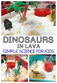 Kids can discover and explore chemical reactions made with baking soda and vinegar in this simple dinosaur and lava themed activity tray! Perfect for the preschool, pre-k, kindergarten classroom during a dinosaur theme.