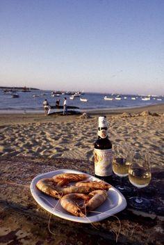 Spanish Manzanilla with langostinos | Sanlucar de Barrameda, Spain