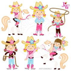 Just Cowgirls Digital Clipart Cowgirl Graphics by JWIllustrations