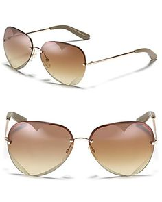 MARC BY MARC JACOBS Rimless Heart Interior Aviator Sunglasses | Bloomingdale's