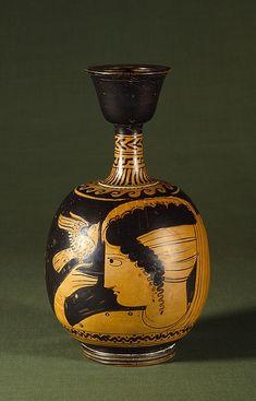 Lekythos with woman and bird. South Italian, c. 340 BC