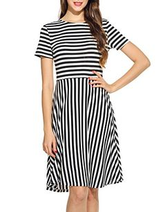 ACEVOG Damen O-Ausschnitt Kurzarm Gestreift Sommer Lässige Flared A-Linie Kleid: Amazon.de: Bekleidung
