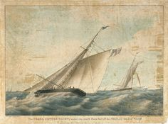 """The 'Pearl' cutter yacht, under two reef'd Main Sail off the Needles Isle of Wight Property of the Most Noble the Marquis of Anglesea"". Rogers, Senior, J. Dean & Munday, lithograph, coloured, ca 1820"