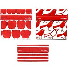 Lunchskins Reusable Coordinating Sandwich and Snack Bags, Apple, Bird, Stripe, Set of 3