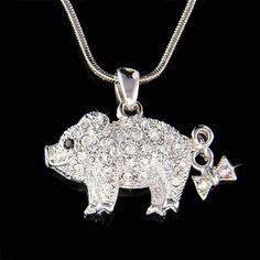Swarovski crystal Cute Pig Piggy Piglet Bow Lover Charm by Kashuen, $36.00