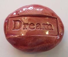 DREAM Pocket Stone  Ceramic  BURGUNDY Art Glaze  by InnerArtPeace, $5.00