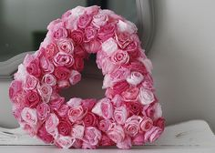 Valentines heart decoration - rolled coffee filter roses