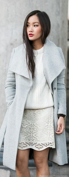 Street style | Pale grey and white.