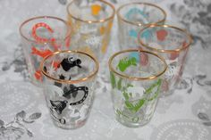 Lucky Atomic Shot Glasses Set of Six Multi Coloured Bar Beauties by AtticBazaar on Etsy Lucky Symbols, Shot Glasses, Vintage Gifts, 1950s, Cocktails, Bar, Burlesque, How To Make, Prints