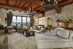 Rustic Living Room with Exposed beam, sandstone tile floors, French doors, High ceiling, Chandelier Mediterranean Living Rooms, French Living Rooms, Elegant Living Room, Living Room Modern, Mediterranean Style, Living Room Ideas Us, Best Living Room Design, Living Room Designs, Estilo Interior