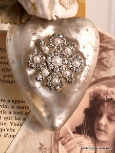 Pearl and silver vintage heart ornament.