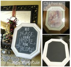 Thrift Store Framed Print turned Chalkboard - #chalkpaint -artsychicksrule.com
