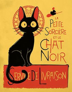 Kiki's Delivery Service in the style of Le Chat Noir.