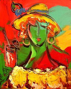 "Oil Textured GREEN GIRL   Painting.Original Contemporary Landscape Painting.Palette Knife.Impasto.  36"" - by Mark Kazav"