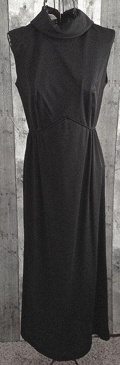 Vintage 1960s Black Knit Maxi Dress Gown Folded Mock Neck Size 10 #Unbranded…