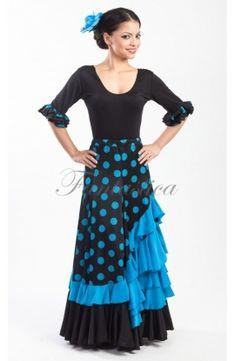 Flamenco and Sevillanas Skirt for Woman/ Black Skirt with Blue Polka Dots and Flounce - Tienda Esfantastica Flamenco Skirt Pattern, Rocker Costume, Flamenco Costume, Dance Costumes, Skirt Fashion, Fashion Outfits, Dress Skirt, Dress Up, Spanish Dress