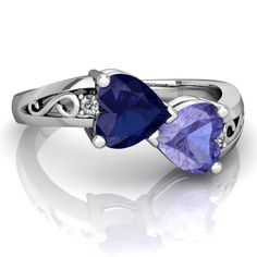 Lab Sapphire and Tanzanite Snuggling Hearts Ring R2178-SCSTA