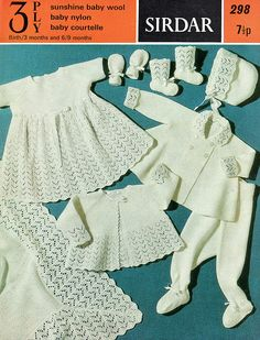 PDF Vintage  Baby Christening Layette Knitting Pattern Early