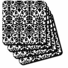 """Black and White Intricate detailed and fancy Damask Pattern - Classic Classy Elegant and Stylish - Set Of 4 Ceramic Tile Coasters by 3dRose LLC. $19.99. High gloss finish. Construction grade. Dimensions: 4"""" H x 4"""" W x 1/4"""" D. Not absorbent. Comes with protective felt pads (packed separately). Black and White Intricate detailed and fancy Damask Pattern - Classic Classy Elegant and Stylish Coaster is a great complement to any home décor. Soft coasters are 3.5"""" x..."""