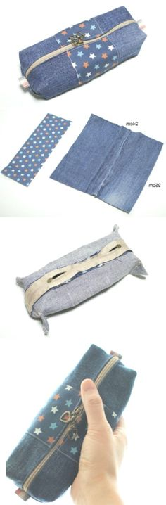 Makeup Bag making from Old Jeans Diy Old Jeans, You Bag, Bag Making, Sewing, Makeup, Fabric, How To Make, Diy, Bags