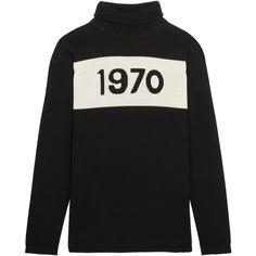 Bella Freud 1970 wool turtleneck sweater ($315) ❤ liked on Polyvore featuring tops, sweaters, black, wool sweaters, polo neck sweater, turtle neck top, wool tops and bella freud