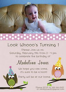 First Birthday Owl Invitations