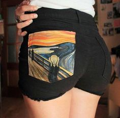 """The Scream"" short shorts Painted shorts. ""The Scream"" short shorts Painted Shorts, Painted Jeans, Painted Clothes, Diy Clothing, Custom Clothes, Diy Fashion, Fashion Outfits, Fashion Design, Denim Kunst"