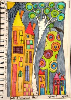 Wonky Houses | Inktense Pencils, Inspiration by Folk Artist … | Flickr