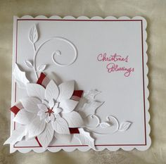 Poinsettia set of dies, vellum and white and red card make for a stylish Christmas card.