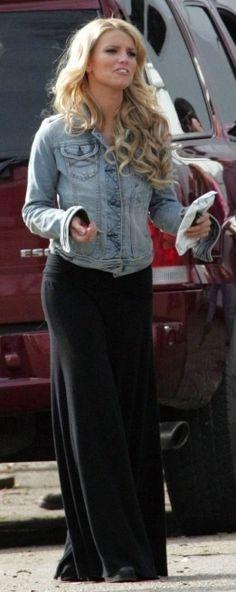 ✿ Jessica Simpson ✿ Denim jacket, white tank and black skirt or pants