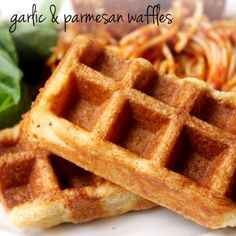 Garlic & Parmesan Waffles.... these would be so good with a sauce or creme, add capers, onion, and maybe smoked salmon....hmm! Savory waffles