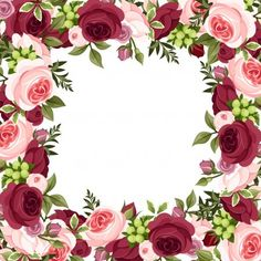 Vector background with red and pink roses Illustration , Scrapbook Background, Vector Background, Paper Background, Flower Picture Frames, Flower Frame, Watercolor Wallpaper, Rose Wallpaper, Borders For Paper, Borders And Frames