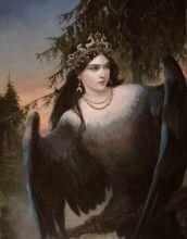 """Oracular Bird"" ~ Shishkin Andrey / genre scenes, oil painting."