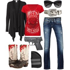 RED Fridays, created by barrelracingbarbie on Polyvore